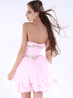 Lovely A-line Chiffon Short/Mini Tiered Cocktail/Sweet 16 Dresses