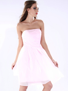 Beautiful A-line Chiffon Tube Top Short/Mini Cocktail/Sweet 16 Dresses