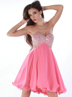 Astounding A-line Chiffon Short/Mini Beading Cocktai/Sweet 16 Dresses