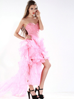 Gorgeous Princess Organza Sweetheart Asymmetrical Train Prom/Cocktail Dresses