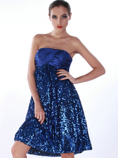 Shining A-line Sequined Tube Top Knee-length Prom/Cocktail Dresses