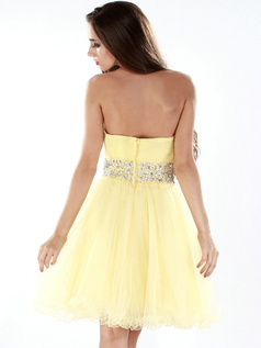 Happiness A-line Tulle Knee-length Draped Cocktail/Sweet 16 Dresses
