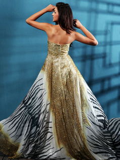 Awesome A-line Chiffon Tube Top Print Prom/Evening Dresses