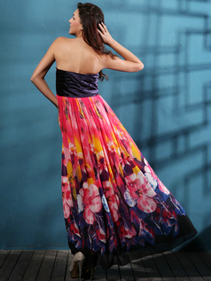 A-line Column Chiffon Floor-length Print Prom/Evening Dresses