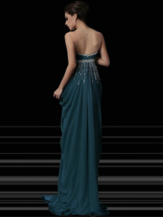 Noble Sheath/Column Chiffon Floor-length Crystal Evening/Prom Dresses
