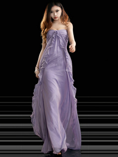 Graceful Sheath/Column Chiffon Floor-length Split Front Evening/Prom Dresses