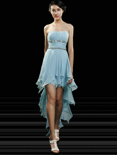Perfect A-line Chiffon Tube Top Asymmetrical Train Prom/Cocktail Dresses