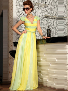 Beautiful A-line Chiffon V-neck Draped Evening Dresses