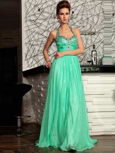Elegant A-line Halter Floor-length Crystal Evening/Prom Dresses