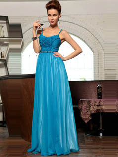 Noble A-line ChiffonStraps Draped Evening/Prom Dresses