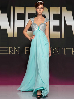 Snazzy Sheath/Column Chiffon Floor-length Flower Evening/Prom Dresses