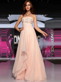 Fantastic A-line Chiffon Tube Top Sequin Evening/Prom Dresses