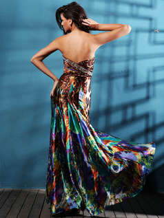Astounding Sheath/Column Sweetheart Sweep Print Prom Dresses