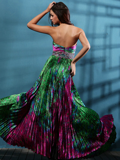 Glamorous A-line Sweetheart Print Draped Prom/Evening Dresses