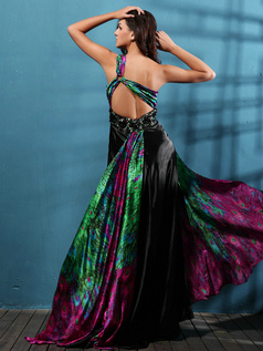 Terrific Sheath/Column Satin One shoulder Print Prom Dresses