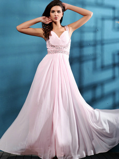 Beautiful A-line Chiffon Floor-length Beading Evening Dresses