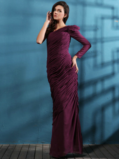 Amazing Sheath/Column One shoulder Floor-length Tiered Evening Dresses
