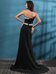 Astonishing Sheath/Column Tube Top Sweep Split Front Prom Dresses