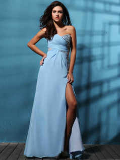 Marvelous A-line Chiffon One shoulder Split Front Prom Dresses