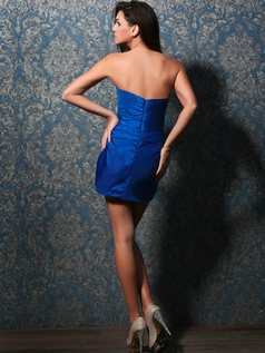 Snazzy Sheath/Column Stretch Satin Short/Mini Tiered Cocktail Dresses