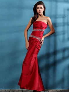 Gorgeous Mermaid/Trumpet Taffeta Tube Top Sequin Prom Dresses