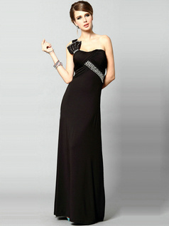 Surpassingly Beautiful Sheath Elastic Silk-like Satin Floor-length One shoulder Crystal Evening/Prom Dresses