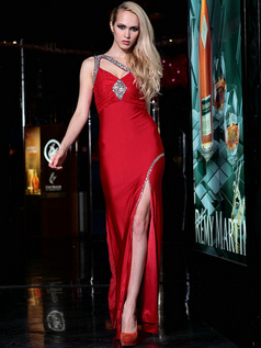 Fantasy Sheath Elastic Woven Satin One shoulder Floor-length Split Front Evening/Prom Dresses