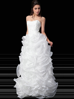 Beautiful Ball Gown Organza Floor-length Appliques Prom Dresses