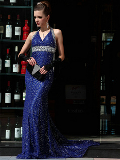 Noble Sheath Sequined Halter Court Train Beading Evening/Prom Dresses