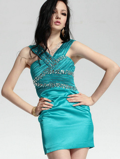 Terrific Sheath/Column Stretch Satin Short/Mini Tiered Cocktail/Prom Dresses