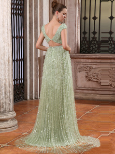 Astonishing A-line V-neck Sweep Sequin Evening/Prom Dresses