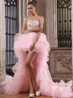 Brilliant A-line Sweetheart Asymmetrical Train Cascading Ruffle Prom Dresses