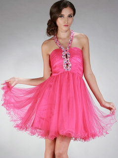Fantastic A-line Halter Short/Mini Draped Prom/Homecoming Dresses
