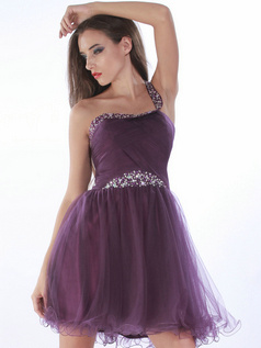 Marvelous A-line One shoulder Short/Mini Crystal Prom/Cocktail Dresses