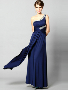 Beautiful Sheath Chiffon One shoulder Floor-length Crystal Evening/Prom Dresses