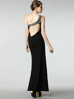 Noble Sheath Elastic Silk-like Satin Ankle-length One shoulder Crystal Evening Dresses