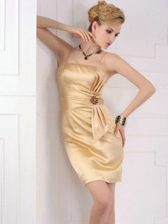 Glamorous Sheath/Column Spaghetti Straps Short/Mini Homecoming/Cocktail Dresses