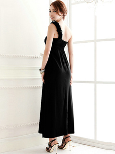 Graceful Sheath Satin Ankle-length One shoulder Flower Evening Dresses