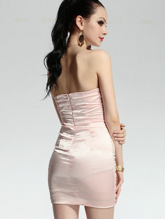 Surpassingly Beautiful Sheath Stretch Satin Short Sweetheart Strapless Crystal Prom/Cocktail Dresses