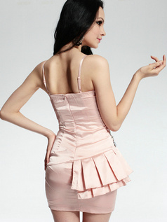 Pure Color Classic Sheath Stretch Satin Short Spaghetti Straps Side-draped Crystal Prom/Cocktail Dresses
