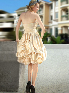 Adorable Princess Stretch Satin Knee-length Appliques Prom/Cocktail Dresses