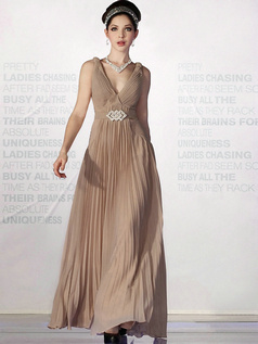 Appealing A-line Chiffon Straps Floor-length Crystal Evening Dresses