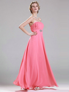 Appealing A-line Floor-length Crystal/Rhinestone Chiffon Evening Dresses