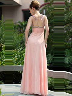Appealing A-line Round Brought Floor-length Crystal/Rhinestone Evening Dresses