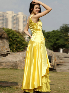 Appealing A-line Stretch Satin Floor-length Sequin Prom/Evening Dresses