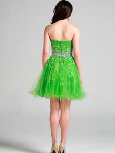 Appealing A-line Tulle Tube Top Short/Mini Homecoming Dresses