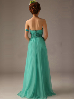 Beautiful A-line Chiffon Tube Top Beading Evening Dresses