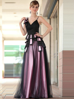Beautiful A-line V-neck Cascading Ruffle Tulle Evening/Prom Dresses