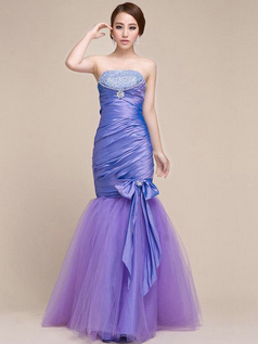 Beautiful Mermaid/Trumpet Taffeta Strapless Beading Prom Dress