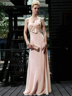 Beautiful Sheath/Column Chiffon Floor-length Bowknot Prom/Evening Dresses